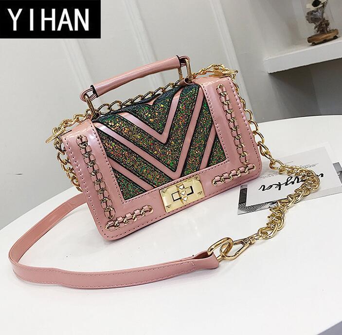 2731298bd5 Factory Wholesale Brand Handbag Fashion Handbag Authentic Small Elegant  Woman All Match V Leather Chain Bag Korean Sequined Woman Bag Shoulder Bags  For ...