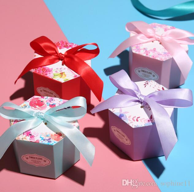 Hexagonal Wedding Favors Candy Boxes Creative Blue Starry Sky Floral