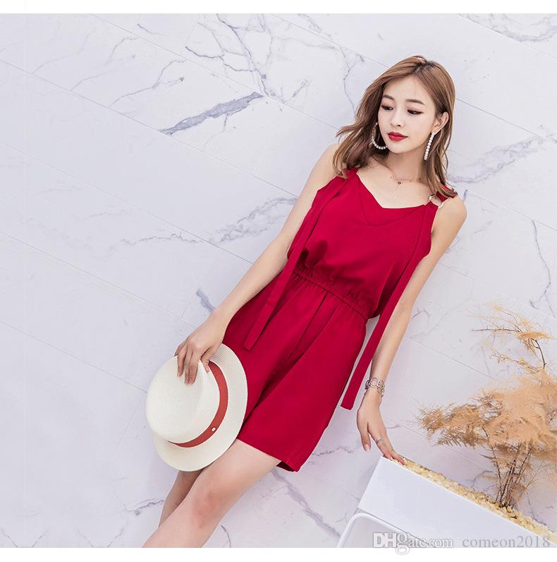 48cbce6ec8aa Women Floral Sleeveless Summer Dress Holiday Party Culotte Red Chiffon  Casual Dress Culotte Girl Culotte Summer Short Culotte Gallus Culotte  Online with ...