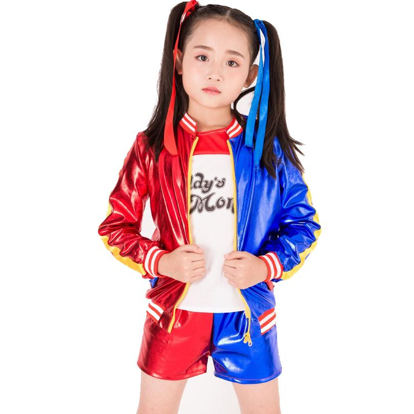 a4e4cfd33548 2019 New Kids Harley Quinn Halloween Costumes Girls Clothing Suicide Squad  Children Jacket Cosplay Suit Jacket+T Shirt+Shorts Y18102408 From Gou08