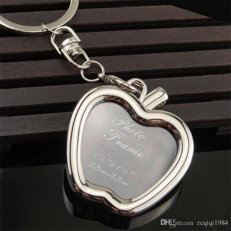 أعلى جودة سبائك الإبداعية البسيطة الإطار الحلي وضع صور سلاسل المفاتيح القلب أبل مربع إطار الصورة الحلي