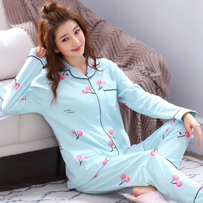 9b041204e152 Mujeres Cómodas pijama de algodón Set Chica encantadora pijama de impresión  conjunto manga larga ropa de dormir 2018 Otoño ropa de noche casuales ...