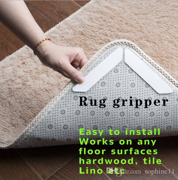 2019 Rug Gripper Non Slip Rug Carpet Mat Grippers Anti Skid Corners Pad For Bathroom Car Reusable Washable Silicone Grip For Home From Sophine11, ...
