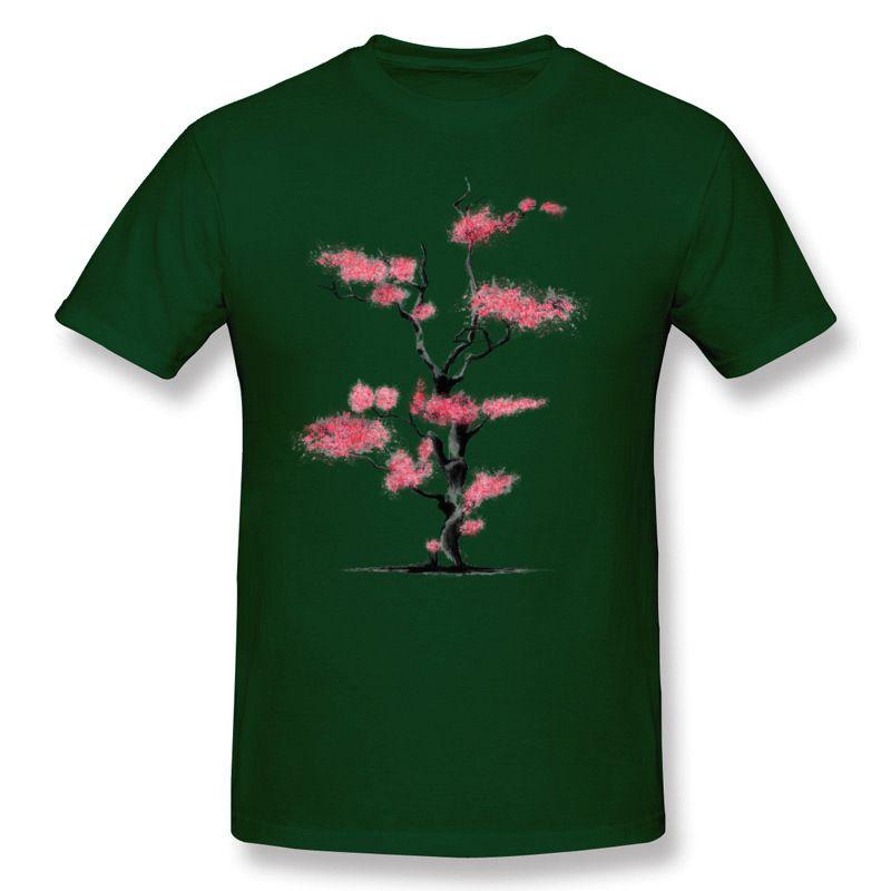 Latest Men's 100% Cotton Cherry Blossoms Tee Shirts Men's Round Neck Beige Short Sleeve T Shirts Big Size Unique Tee Shirts
