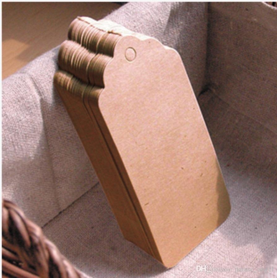 New Kraft Paper Hang Tags Lace Scallop Head Label Luggage Wedding Note String DIY Blank price Hang tag Kraft Gift Hang Tag