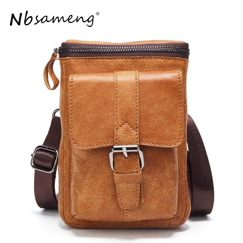 30e507cd81 NBSAMENG Brand 2018 Genuine Leather Man Bag Cowhide Leather Bags Shoulder  Belt Bag Vintage Men Messenger Bags Designer Handbags On Sale Purses On  Sale From ...