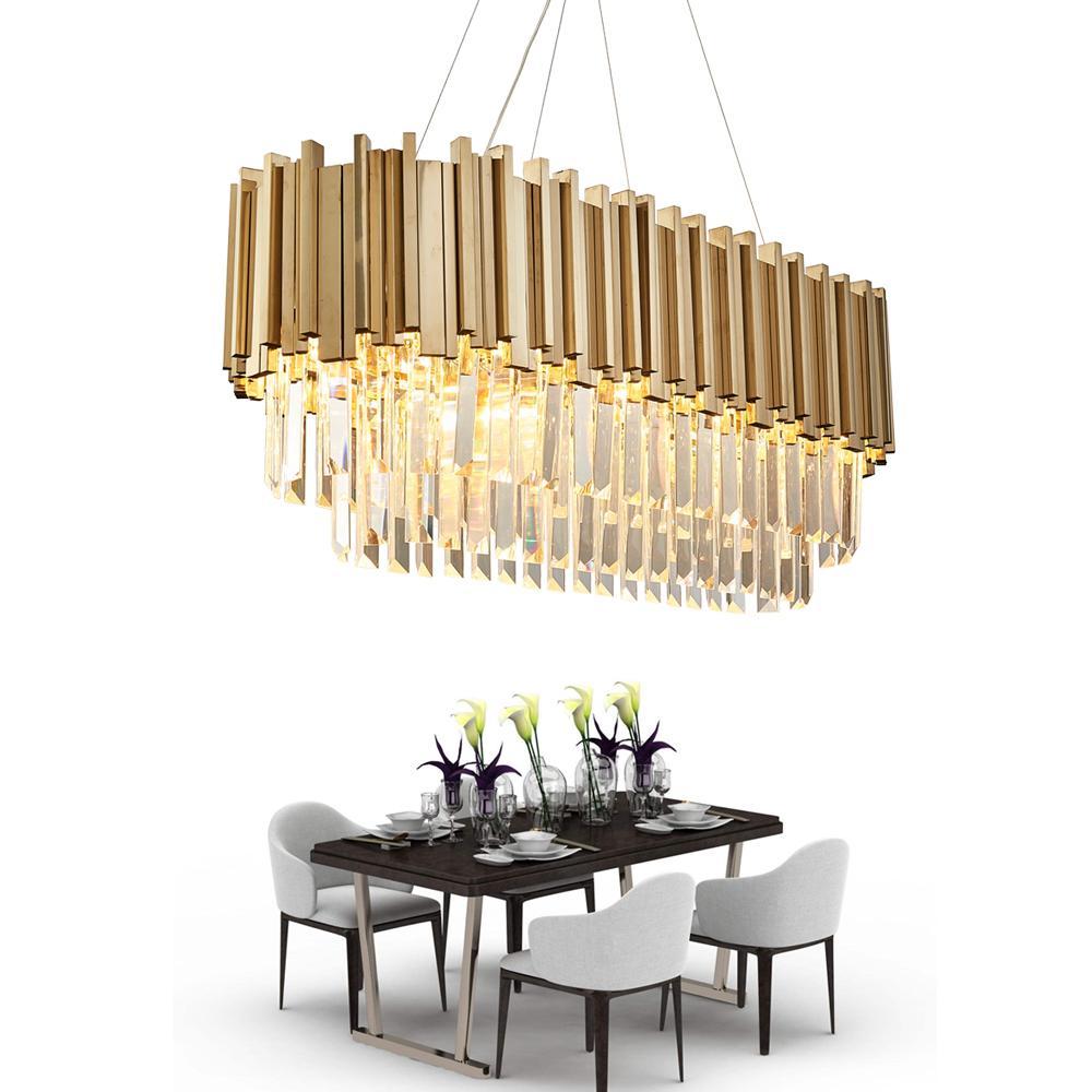 Dining room modern crystal chandelier luxury oval hanging light fixtures dining room suspension led lustres de cristal ac85 265v kitchen pendant lighting