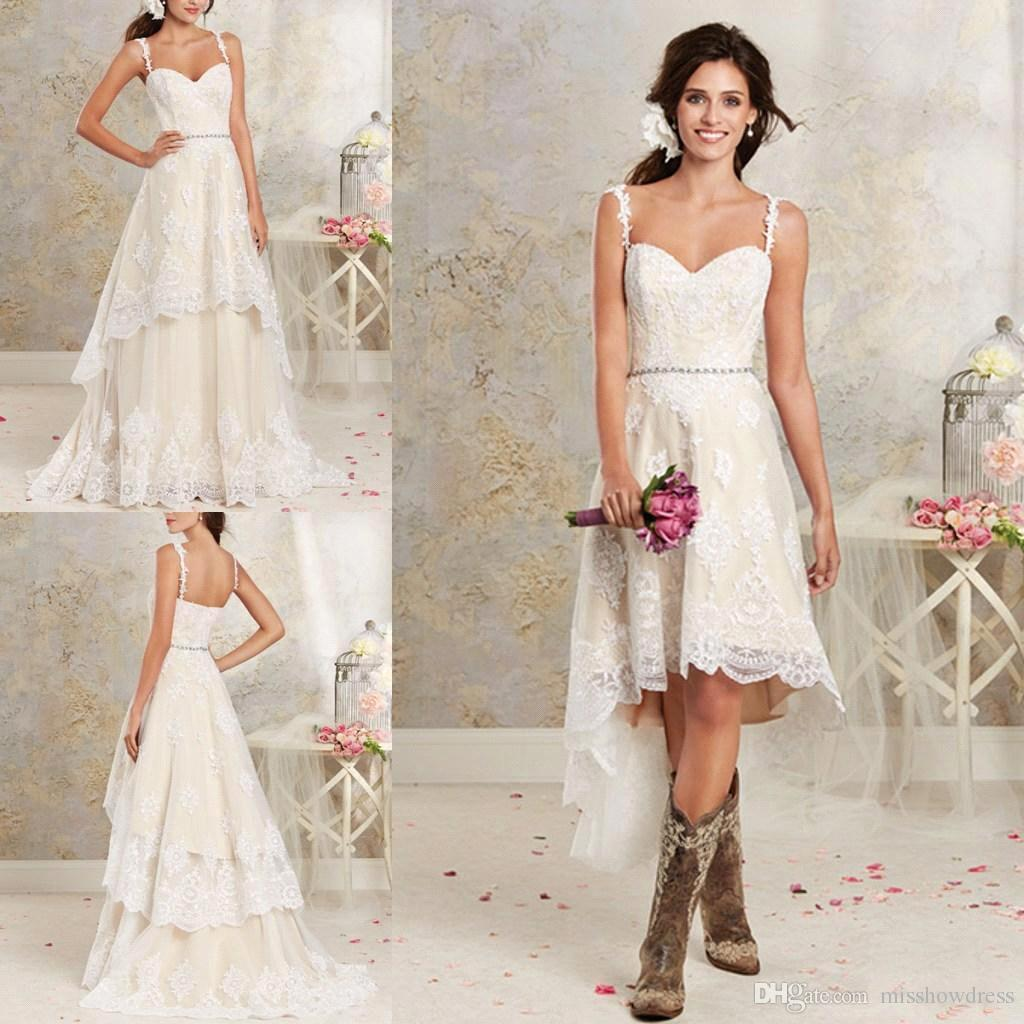 e5f0209288 Discount Removable Skirt Lace A Line Wedding Dresses Spaghetti Straps  Applique High Low Country Summer Beach Wedding Bridal Gowns BA1855 Short  Bridal ...