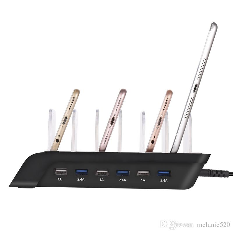 Universal staccabile 50W 10.2A 6-Port USB Docking Station Base Dock Stand Caricatore rapido iphone Cellulare Ipad pad tablet pc