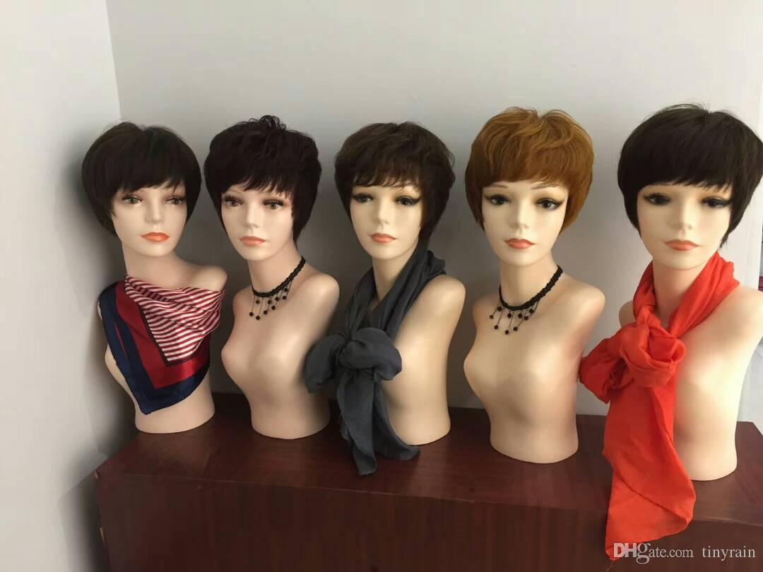 perucas de renda glueless 15 cm de cabelo curto 56 cm cabeça cap densidade pesada cor natural