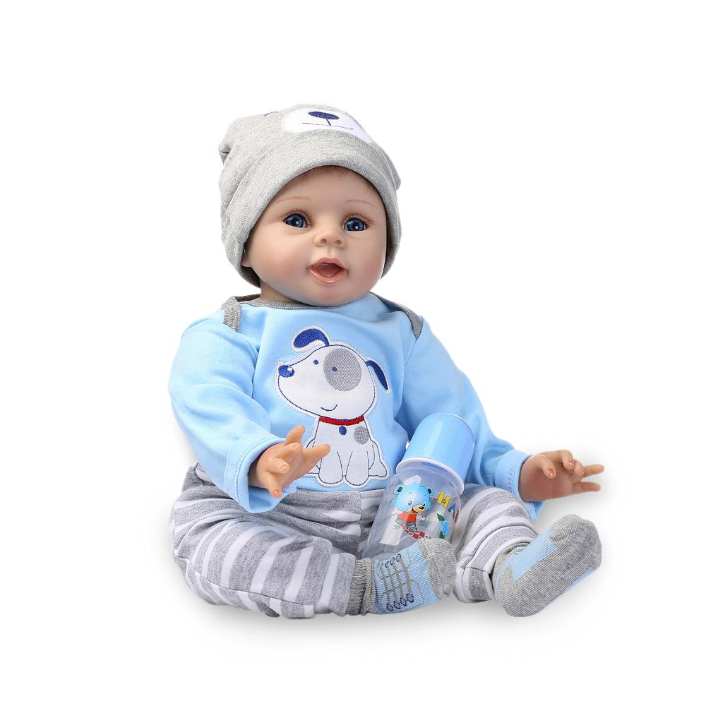 33e267a66cdb2 Acheter Nicery 20 22 Pouces 50 55cm Bebe Doux Silicone Garçon Fille Jouet  Reborn Baby Doll Cadeau Pour Enfants Bleu Chien Bady Poupée De  133.65 Du  Laurul ...