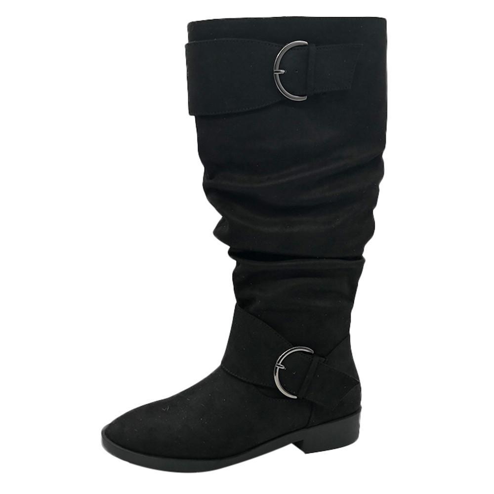 794ad3839 Hiver 2018 Mode Femmes Rétro Slouch Anti-Slip Boucle Chaussure Sous Le  Genou Haut Plat Bottes À Talons Bas zapatos Mujer # g8