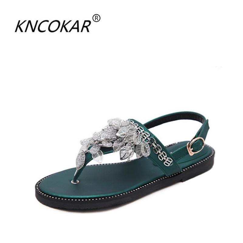 00019ec76a70 KNCOKAR Summer 2018 Hot Style Water Drill Women S Sandals Accessorize With  The Roman Style Metal Leaf Decorative Sandal Summer Boys Sandals Dansko  Sandals ...