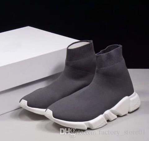 Homens Mulher Novo Slip-on Elastic Pano Trainer Velocidade Runner Man Shoes Ao Ar Livre de Luxo Unissex Sapatos Casuais Planas Meias Botas de Moda