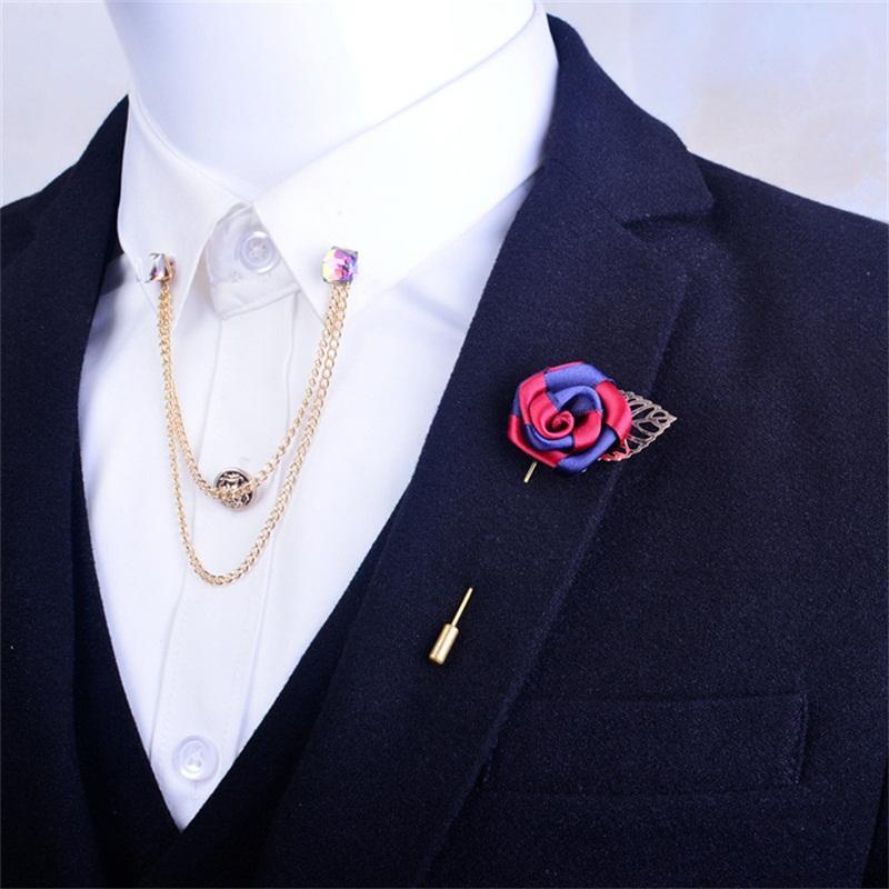 wholesale Lapel Pin Brooch for Men Rose Flower Men Suit Brooches Long Decor  Lapel Pin Wedding Brooch