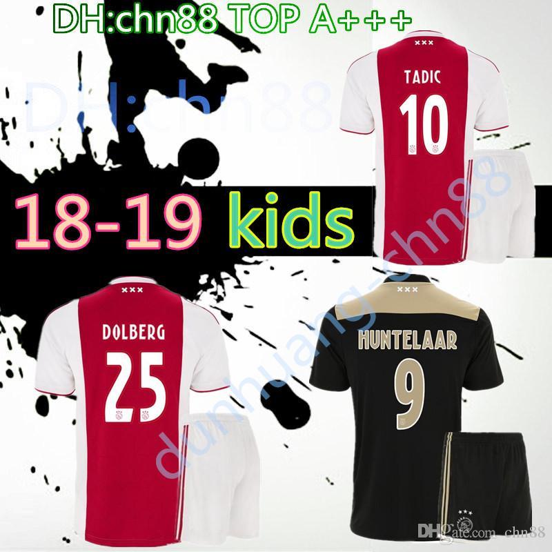 a3317a1d Thai quality 2018 2019 Ajax FC home away kids kit soccer jersey 18 19 away  KLAASSEN FISCHEA BAZOER MILIK AJAX kids football shirt
