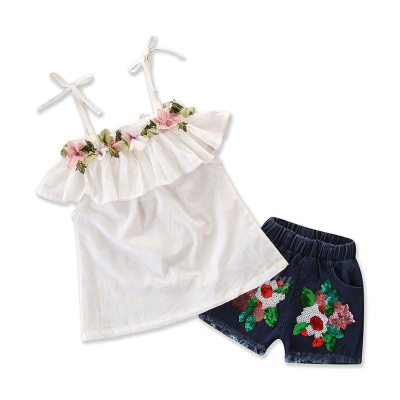79c668fcd 2019 Summer Baby Clothes Fashion Girl Lace Embroidered Off Shoulder ...