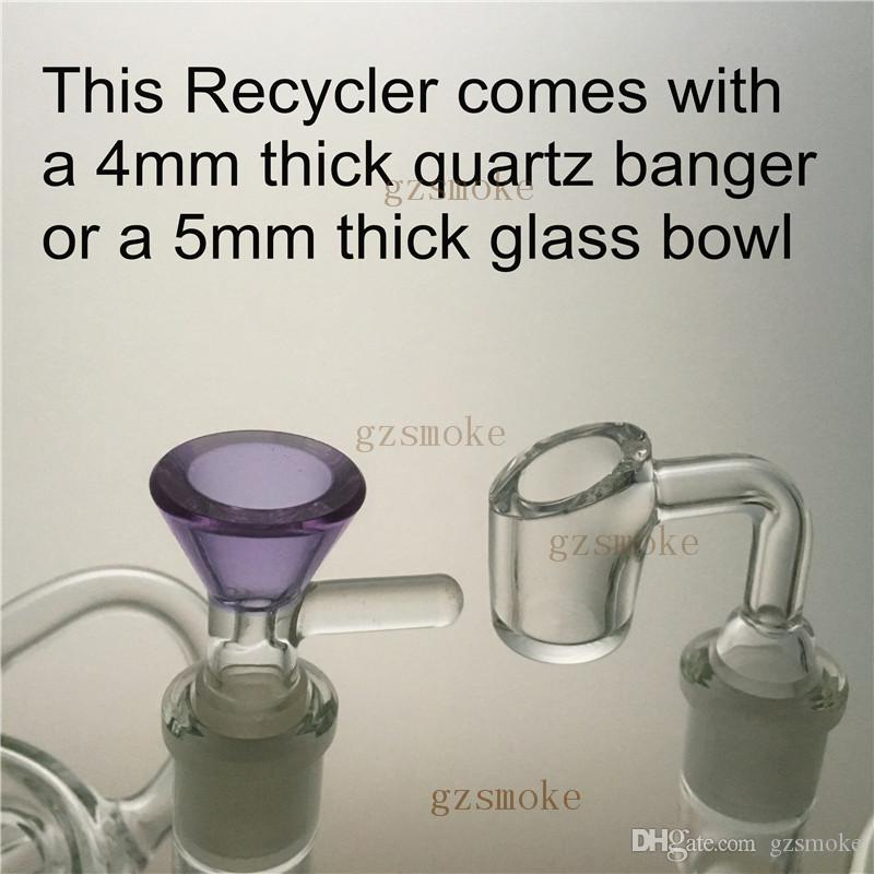 Glass Bong Dab Rig Recycler Oil Rigs awesome triple cyclone inline arm heady bongs gear perc water pipes bowl quartz banger purple pipe