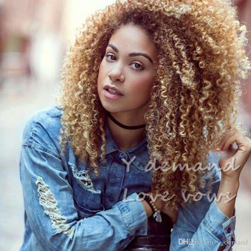 afro hair top short bob blonde silky curly wavy wig simulation like