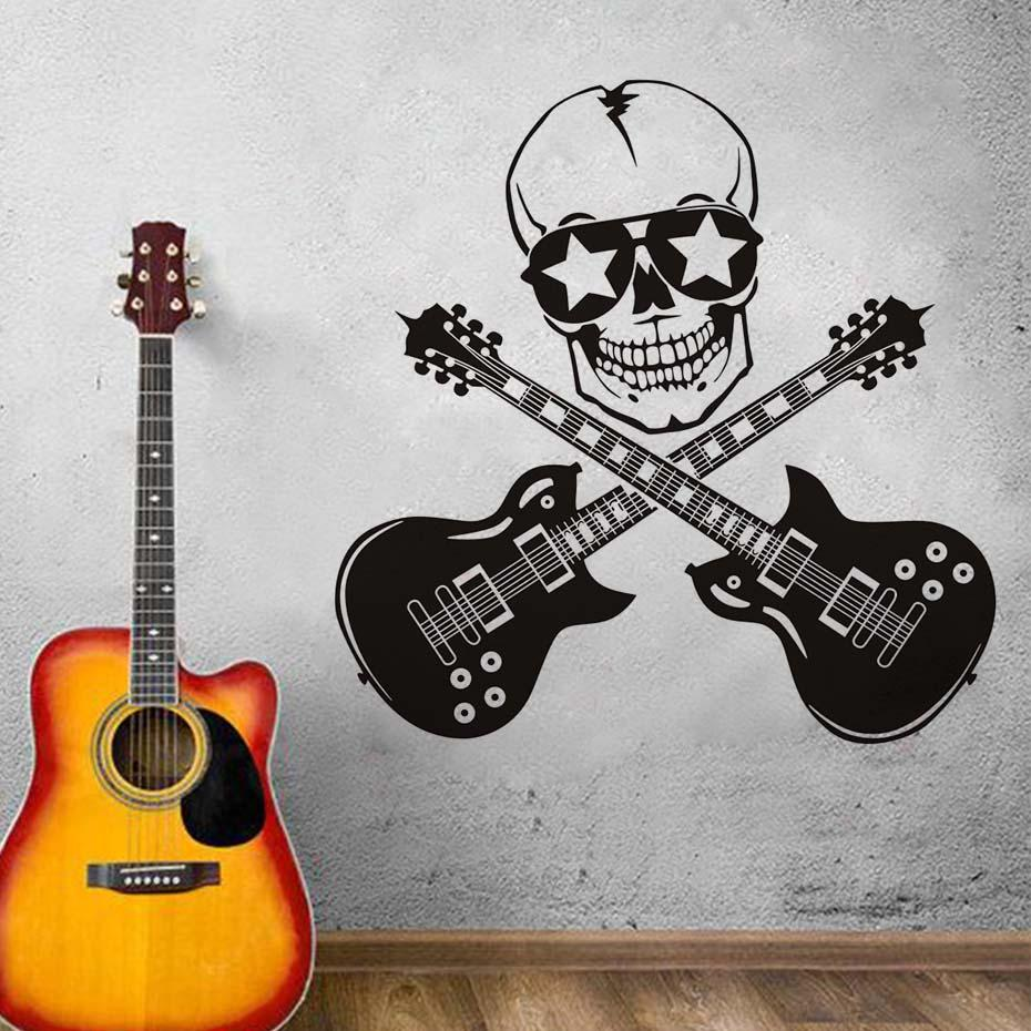 Cool Creative Design Funny Wall Stickers Skull And Guitar Art Vinyl Bedroom Decor Wall Mural Guitar Rock Silhouette Wall Decals