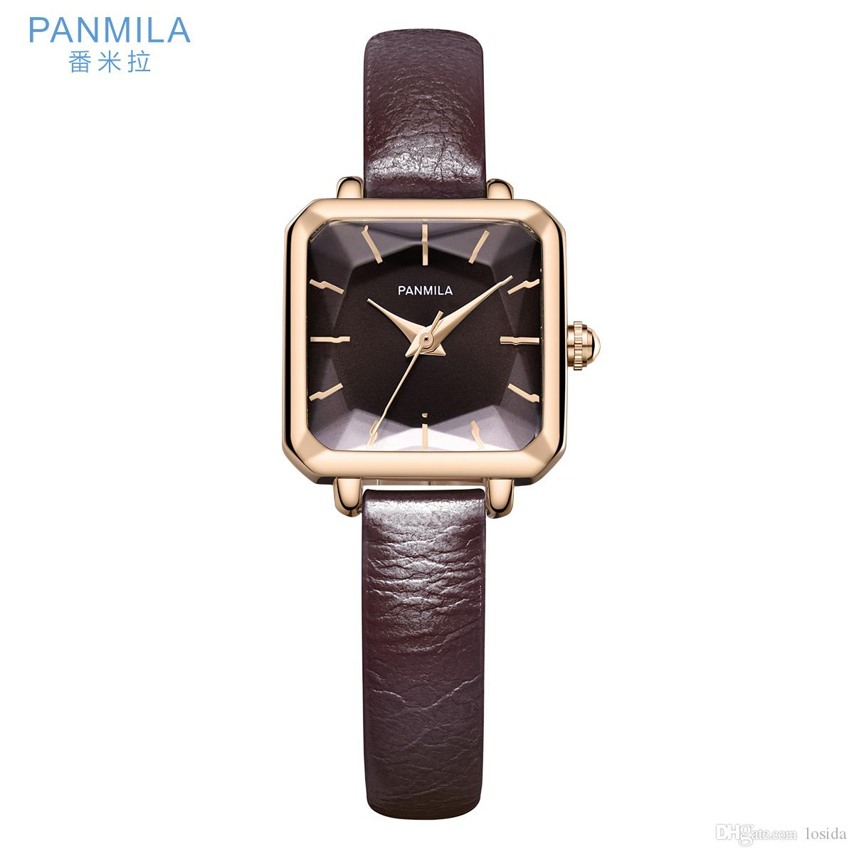 36b4229fad7 Compre 2019 PO238S   PANMILA Moda Mulheres Relógios Retro Rainbow Design  Pulseira De Couro Liga Analógica De Quartzo Relógio De Pulso Relógio Relogio  ...