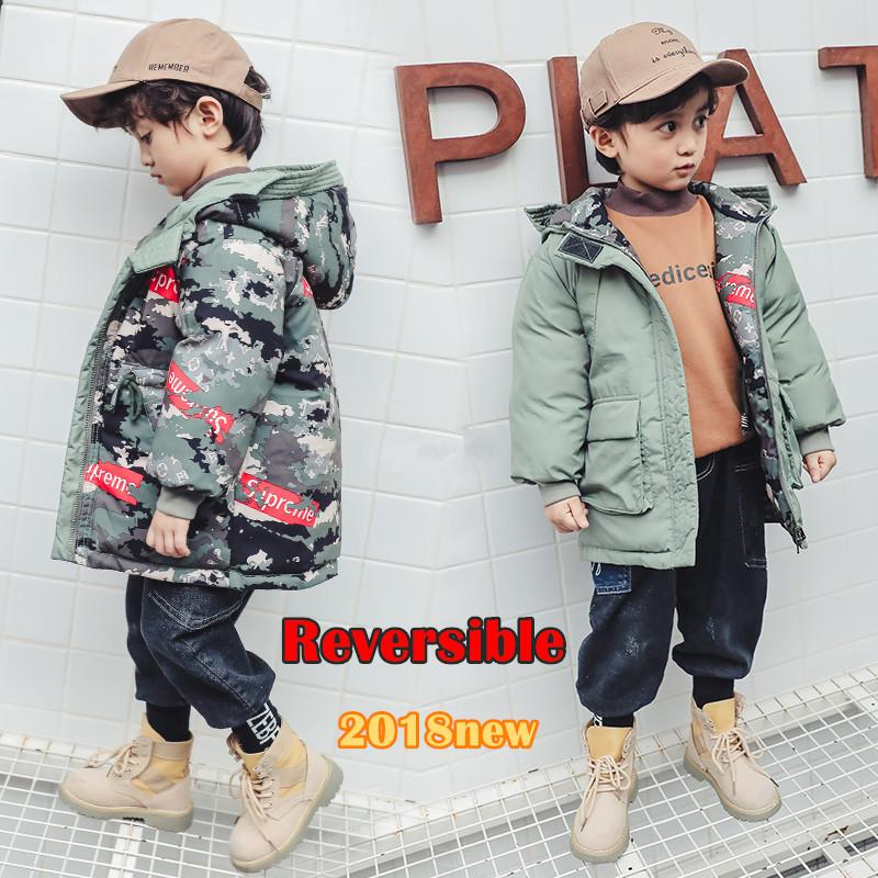 5c750a295 2018 New Fashion Reversible Boys Winter Jackets Kids Clothing Boy'S  Camouflage /Solid Hooded Jacket Coat For Children 3 9T Winter Coats For  Teens Winter ...