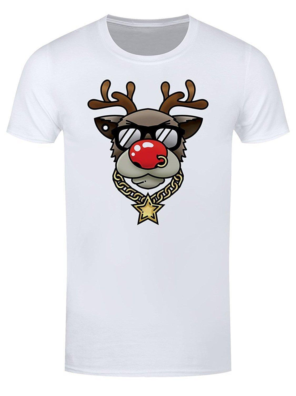 Men Bling Rudolph T Shirt White 2017 New Pure Cotton Short Sleeves Hip Hop Fashion  Mens T Shirt Shirts Homme Novelty T Shirt Men Funny Tshirt Metal T Shirts  ... 4fc5afc6fa9f