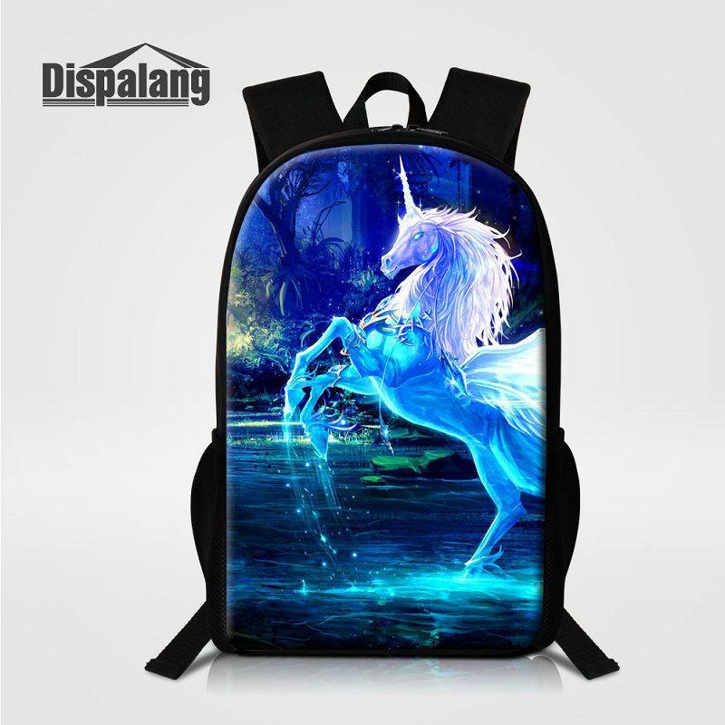 Lifelike Unicorn Printing School Backpack For Children Fantastic ... b57f944936313