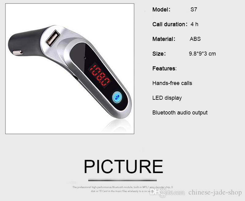 Hände geben drahtloses Bluetooth Auto FM Übermittler S7 AUX Modulator-Auto-Installationssatz MP3-Player SD USB-Aufladeeinheit / frei