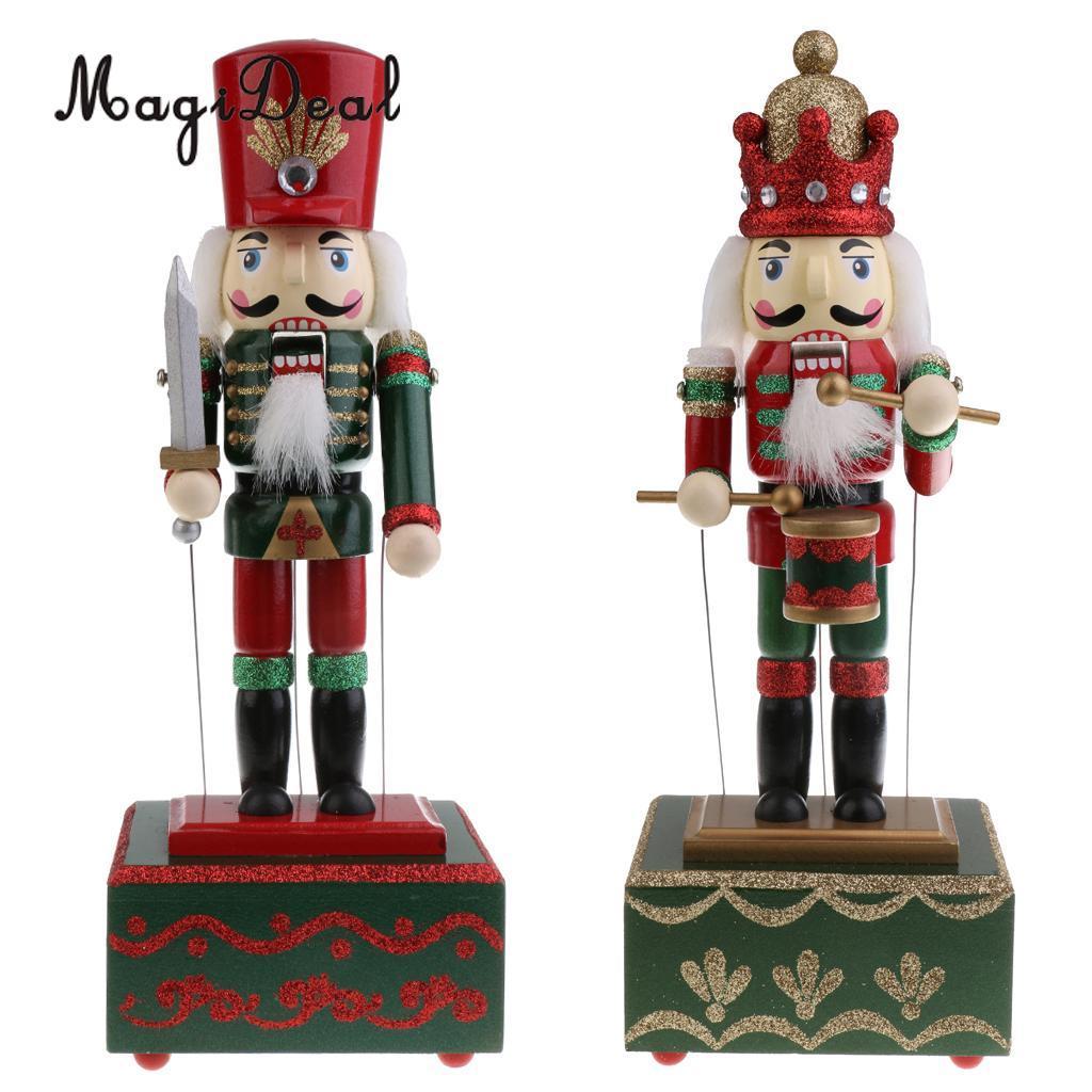 32cm Wooden Hand Painted Christmas Nutcracker Music Box Toy Xmas ...
