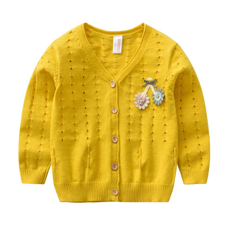 Children Knit Cardigan Cotton Hollow Knit Jacket Coat Baby Girl