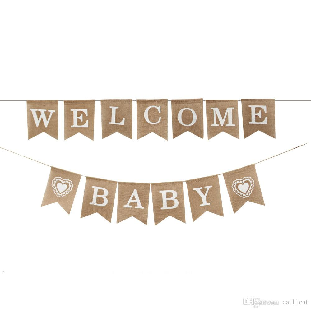 4d3059575cfc 2019 Jute Burlap Welcome Baby Banner Baby Shower Gender Reveal Boy ...
