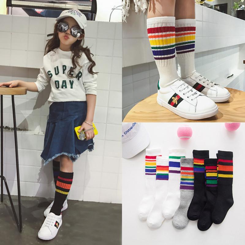 156819b24 Child Boy Football Socks Striped Colored Rainbow Knee Socks Cotton School  White Long Sock For Kids Girls Baby Boy Children 1 8T Sheer Socks Cheap  Stance ...