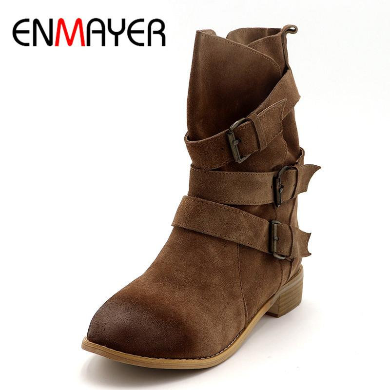 big selection clearance prices classic chic ENMAYER Shoes Woman Winter Boots Cowboy Western Boots Plus Size 33-43  Mid-calf for Women Short Black Light tan Shoe