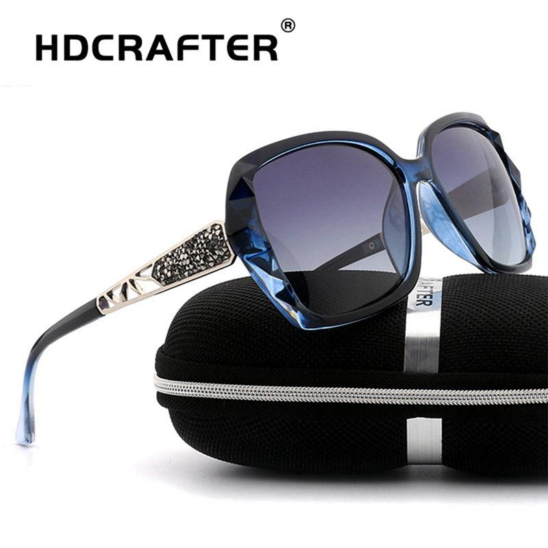 c9d7aba84d HDCRAFTER 2018 Luxury Brand Design Rhinestone Polarized Sunglasses Women  Lady Elegant Big Sun Glasses Female Eyewear Cheap Designer Sunglasses  Sunglasses ...