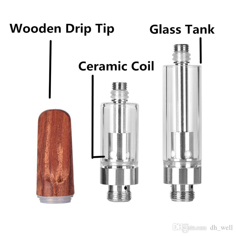 Cartuchos de vidrio Pyrex Vape BUD Touch Goteo de madera Tubo de vidrio Cera gruesa Atomizador 510 O pluma Vapor cerosa Mini cigs vape Tanque