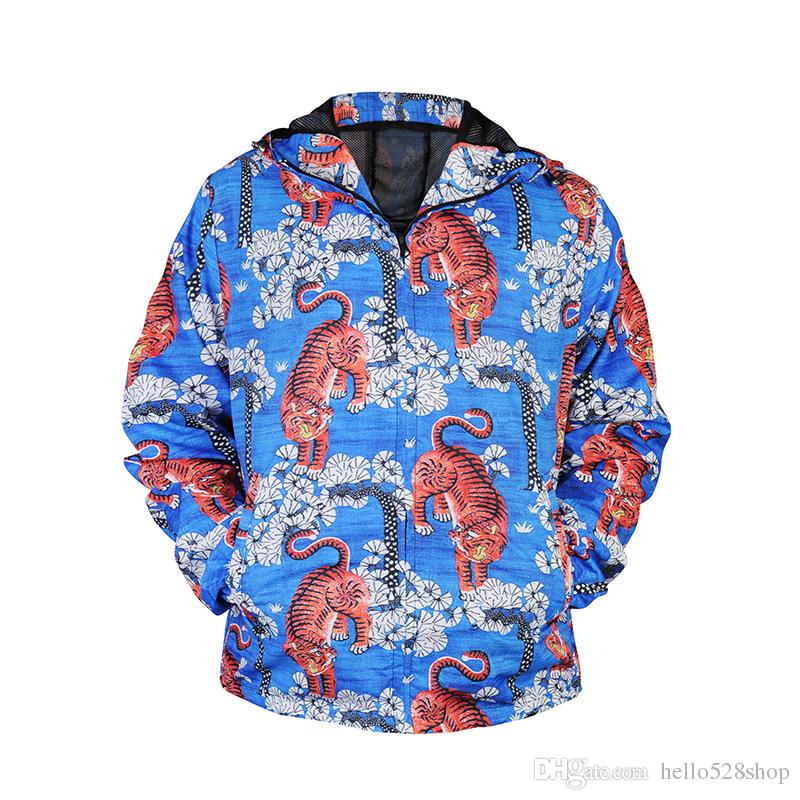 Casual Men's Coat Windbreaker Tiger Colorful Printing 3D Digital Zipper Quick-drying Jackets Hooded Outerwear 3 Style