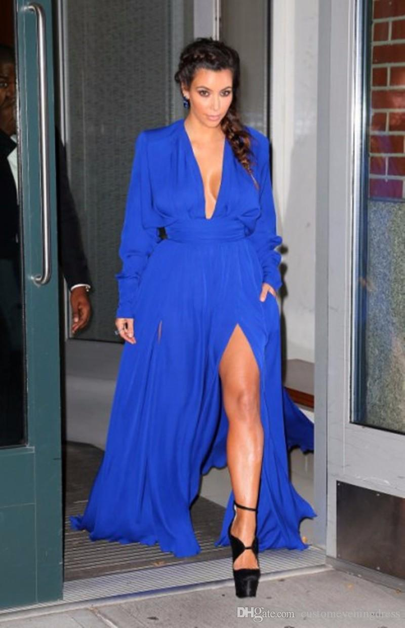 High Quality Cheap Red Carpet Dress Plunging Deep V Neck Royal Blue Chiffon Kim kardashian dress Long Sleeve Celebrity Dresses
