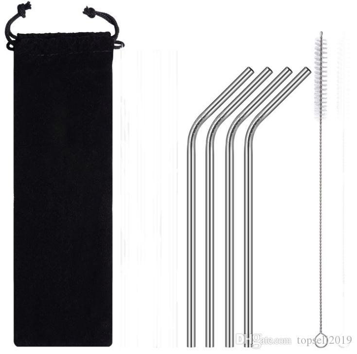 Black Velvet Bag Packing Stainless Steel Straws Set Including 4 Bent Drinking Straws and 1 Free Cleaning Brush SN894