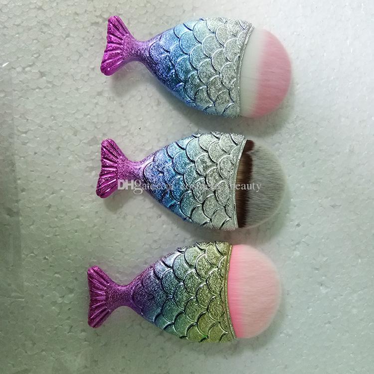 جديد حورية البحر فرشاة ماكياج مسحوق كونتور السمك الميزان Mermaidsalon فرشاة مؤسسة فرش الوجه لونا مستحضرات التجميل الجمال متعدد