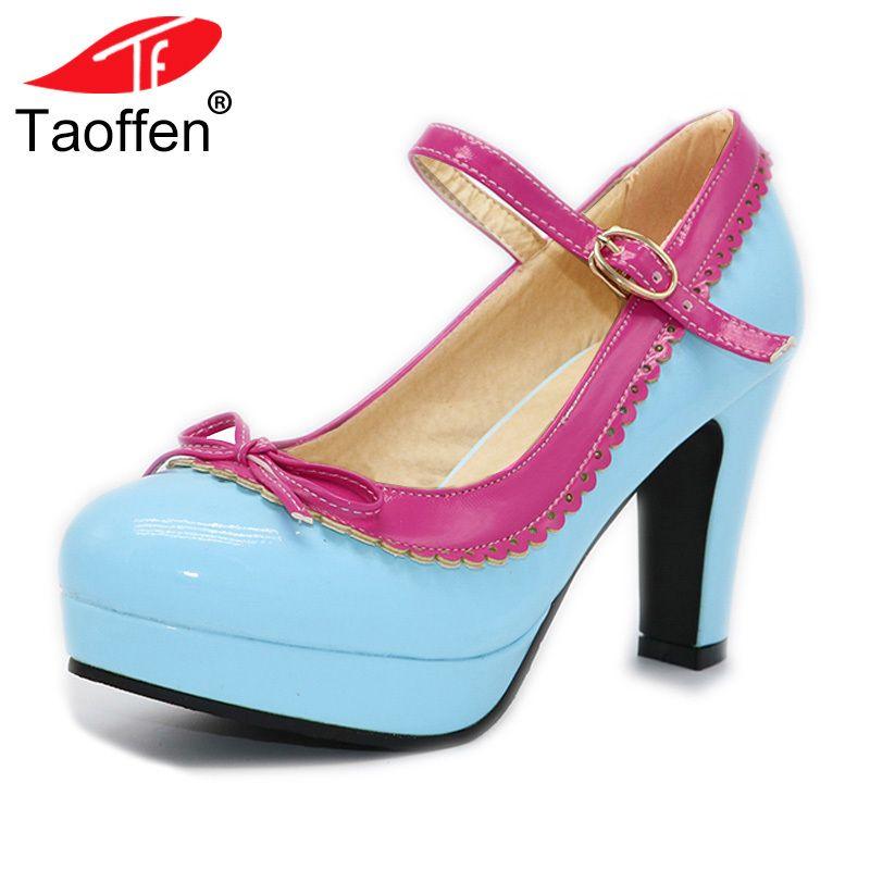 d3501a7d96 Compre 2019 TAOFFEN Mulheres Tamanho 32 48 Mulheres Sapatos De Salto Alto  Senhoras Da Marca Bowtie Dedo Do Pé Redondo Bombas De Salto Alto Tornozelo  ...