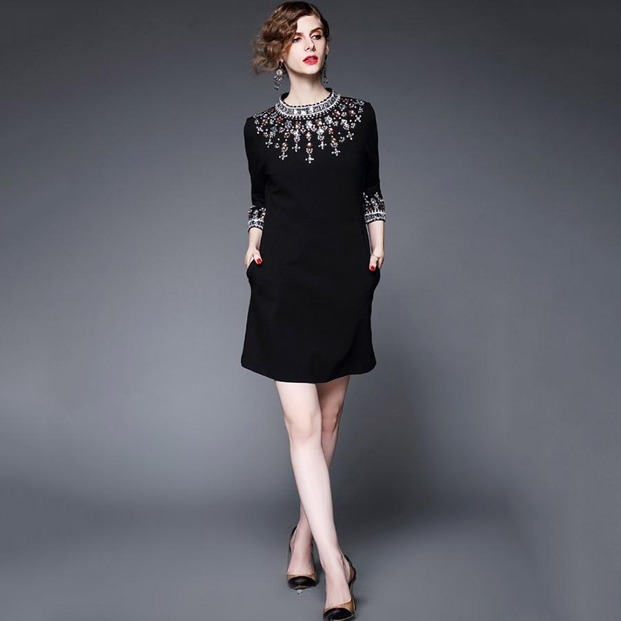 2017 Nuevas Mujeres Runway Dress Primavera Otoño Moda Elegante Rebordear de Lujo Vintage Negro Vestidos de Fiesta de noche vestido de fiesta