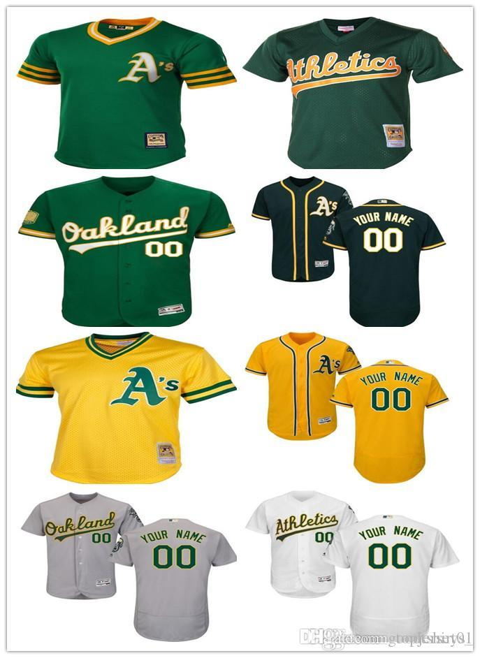 best website 233c3 65c6b 2018 custom Men women youth Oakland Athletics Jersey Personalized #00 Any  Your name and number Home Green White Grey Baseball Jerseys