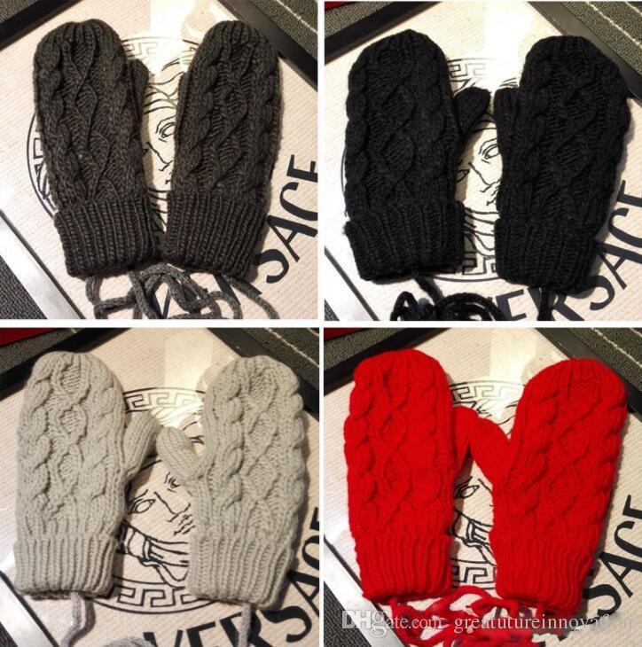 2018 Winter Knitted Women Gloves Knitting Crochet Twist Mittens With  Hanging Rope Solid Color Warm And Soft