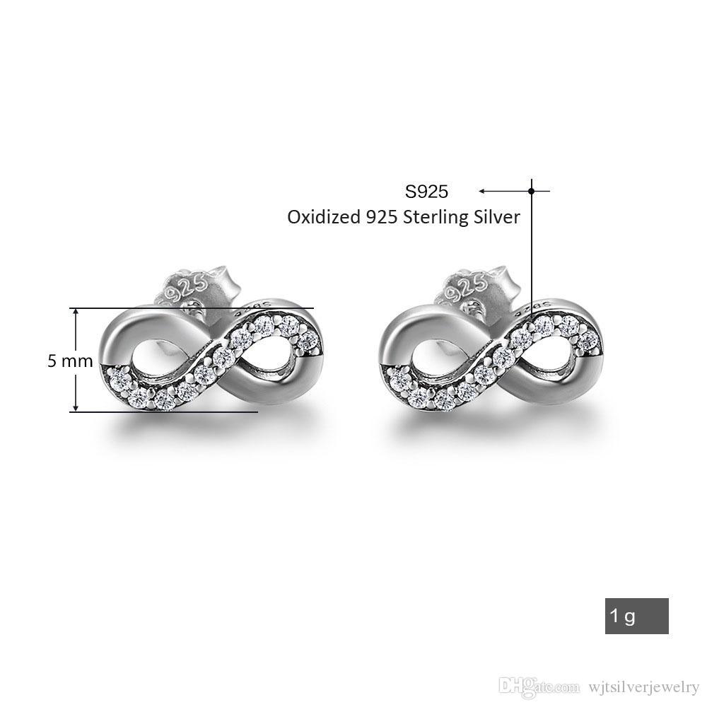 Çin Kaliteli 925 Ayar Gümüş Saplama Küpe Oksitlenmiş Sonsuz Sonsuz Çift Daire Tasarım Lady Kız Doğum Günü Mevcut Hediyeler