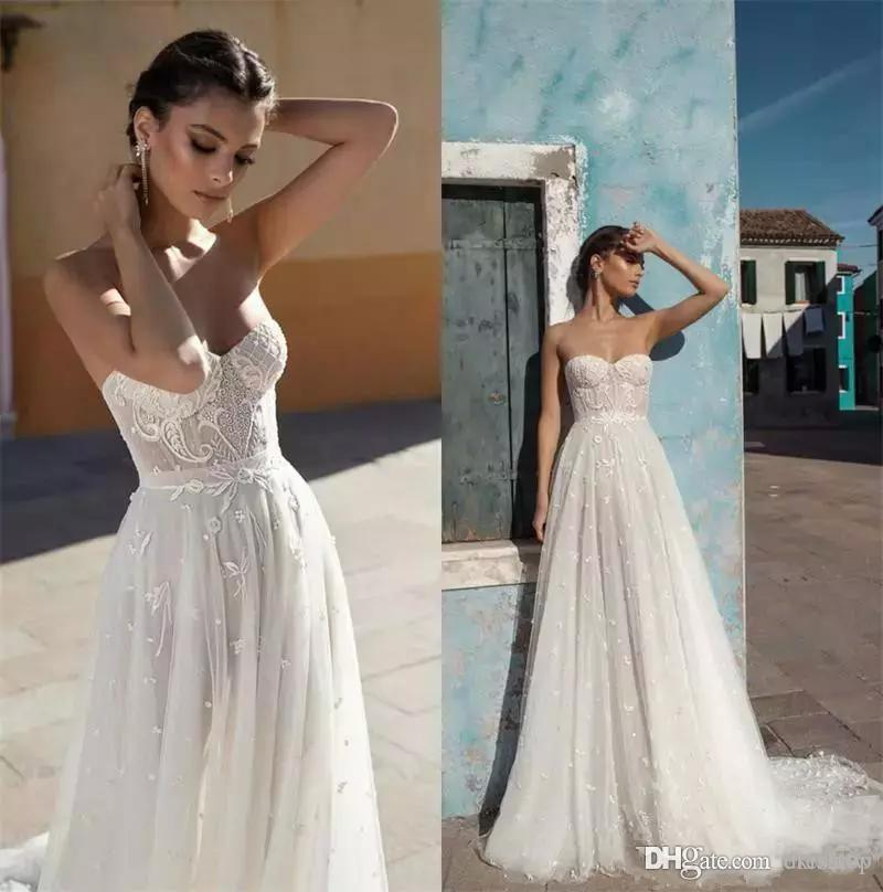 7a922df00f7 Discount 2018 New Gali Karten Wedding Dresses Strapless A Line Lace Bridal  Gowns Sweep Train Backless Cheap Beach Wedding Dress Wedding Dress On Line  ...