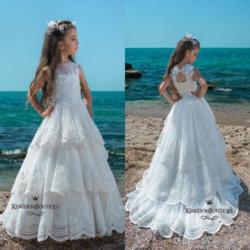 ecfca9265f1 Pure White Lace Flower Girl Dresses 2018 Sheer Crew Neck Layers Ruffles  Girls Pageant Dress With Corset Backless Long Appliques Simple Flower Girl  Dress ...
