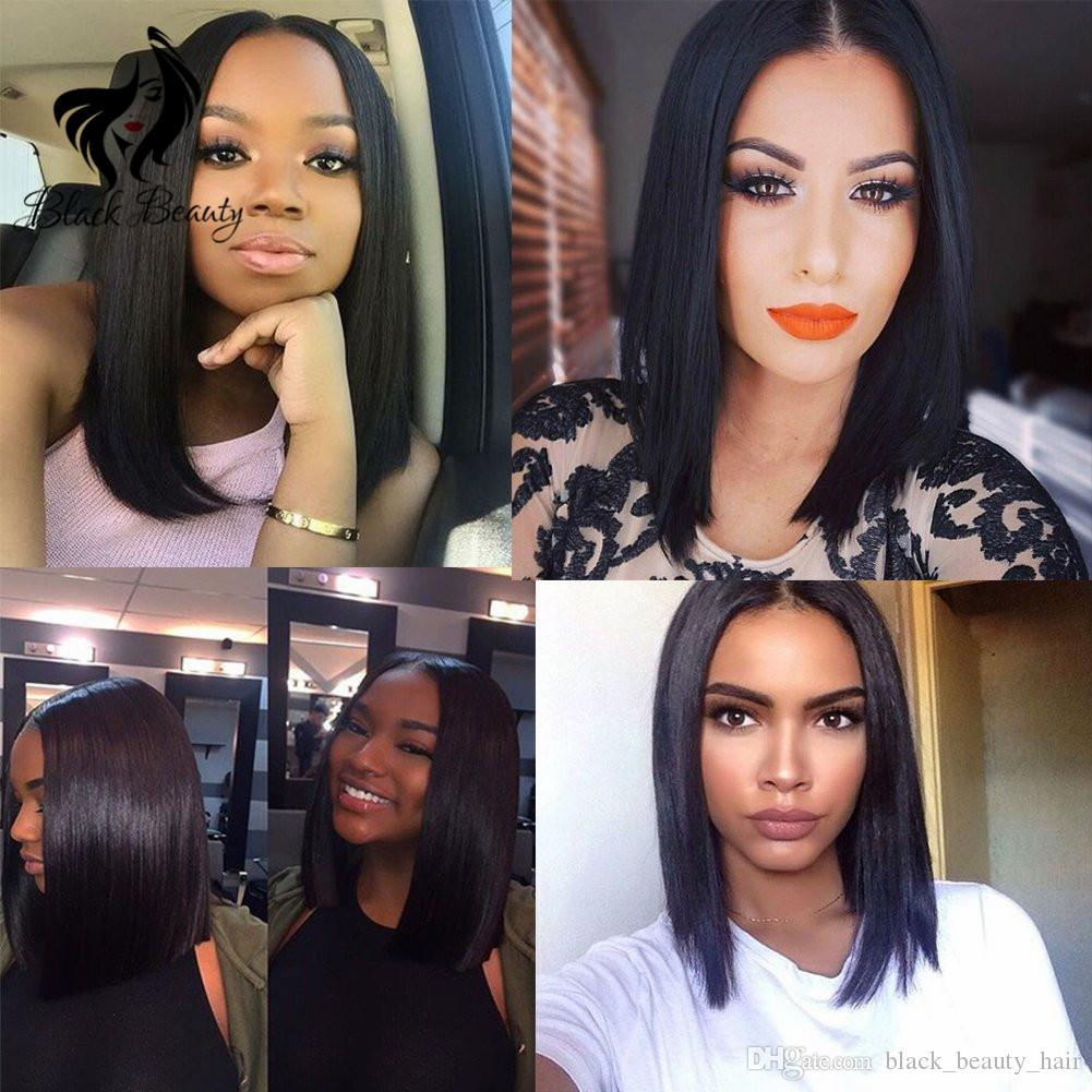 Short Bob Wigs Black Wig for Women Peruvian Virgin Human Hair Wig With Baby Hair 130% Density Silky Straight Hair Short Wig