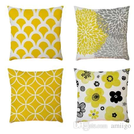 1f498a4589f Geometric Pattern Cushion Cover 45x45cm Linen Throw Pillow Case Yellow Decorative  Pillows Cover For Sofa Seat Home Decor Outdoor Chair Cushions Clearance ...