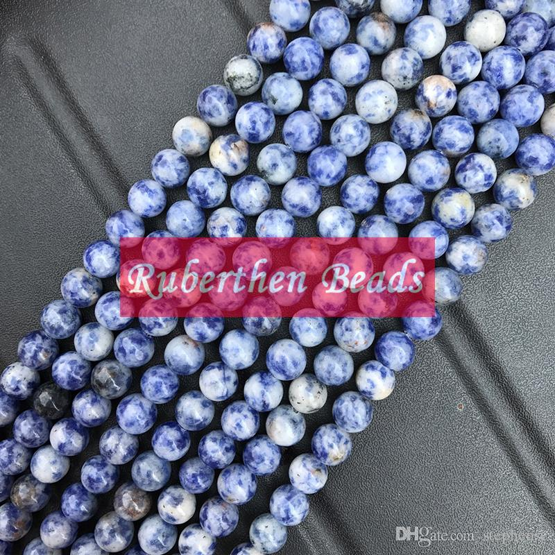 NB0055 Wholesale Trendy Natural Stone Blue Jasper Loose Beads High Quantity Stone Round Bead Hot Sale Jewelry Making Accessory